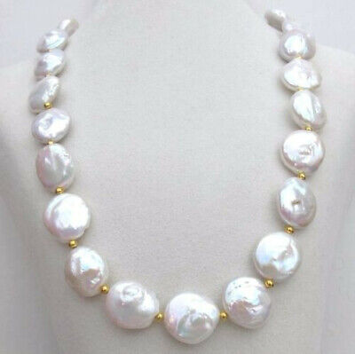 """Hot Huge AAA++ 17-18mm south sea white coin pearl necklace 18"""" 14K GOLD CLASP"""