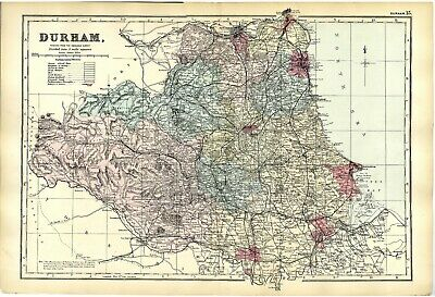 1883 Antique Map COUNTY DURHAM Large Detailed COLOUR Railways Houses Farms etc