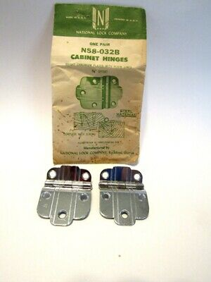 "Vintage NOS CHROME Cabinet Door Hinges w PLAIN Lines 3/8"" Offset  National Lock"
