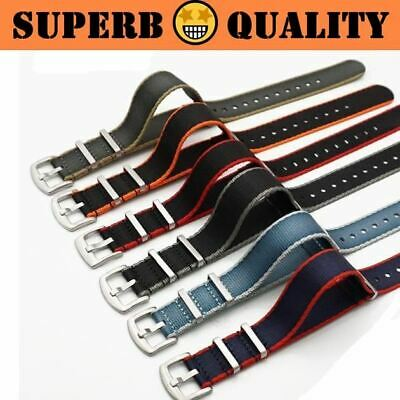 ZULUBELT Seat Belt Nylon Edge-stripe 1.4mm Thick Watch Strap 20mm 22mm (New)