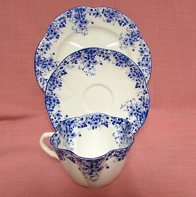 "3 Pc Shelley Dainty Blue 8"" Plate•Tea Cup•Saucer Gold Trim Fine Bone China"