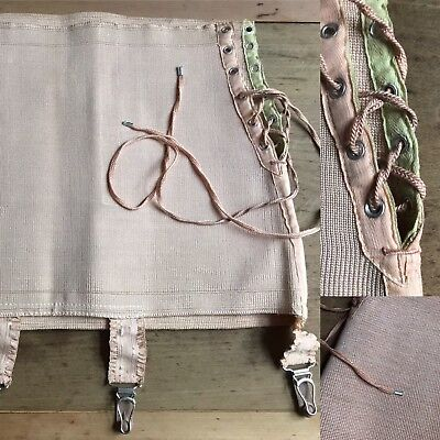 Vintage C1940/50s Nude Open Bottom French Girdle With Suspenders Small