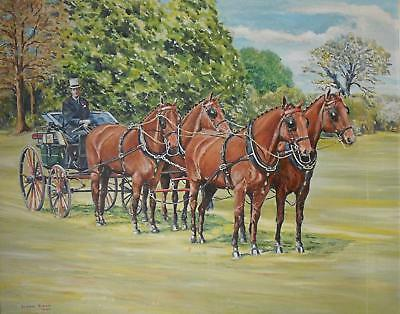 Carriage Riding iWindsor Park HRH Prince Philip Oil Painting Bevan Rider c1980s