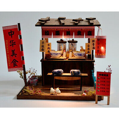 DIY Miniature Doll House Wooden Chinese Pulled Noodles Shop with Furniture