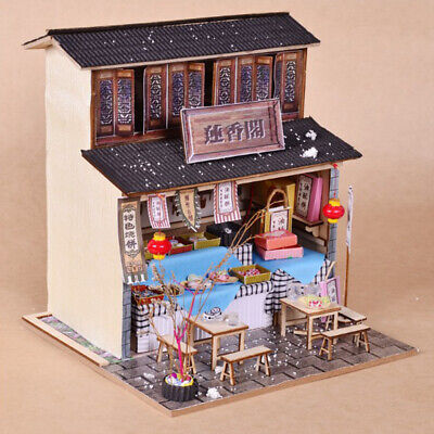 DIY Miniature Doll House Wooden Chinese Cuisine Snack Shop with Furniture