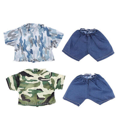 4pcs Cute Camo T-shirt Top & Short Pants for 18''  Doll Clothes