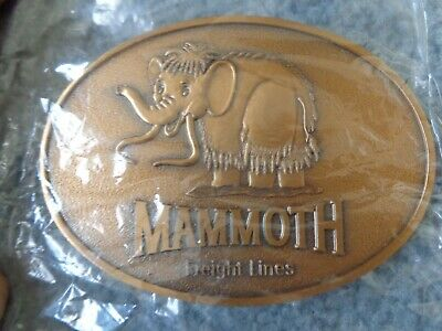 "Mammoth  Freight Lines Brass Belt Buckle NIP 3.5"" x 2.5"" minty Fresh"