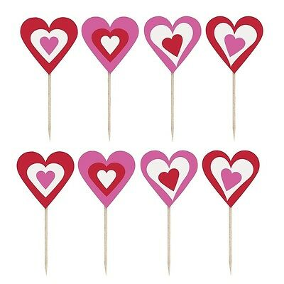 Pack of 8 Love Heart Shaped Party Picks - Parties & Events - New & Sealed