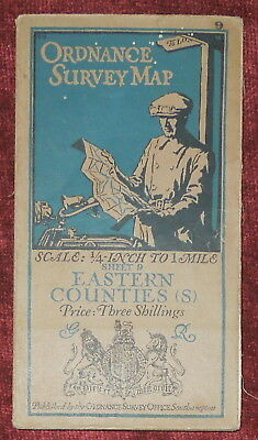 "Ordnance Survey 1/4"" Linen Backed Map Of Eastern Counties South - 9 - 1921"