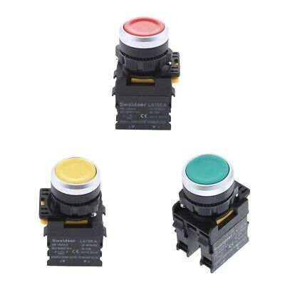 3xWaterproof AC600V 10A LA155A 22mm Panel Mount Momentary Push Button Switch