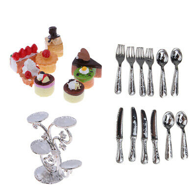 1/12 Dollhouse Miniature Fruit Stand with Fruit Cakes & Silver Tableware