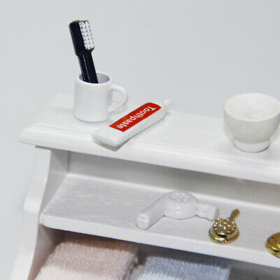 1/12 Dollhouse Miniature Bathroom Accs Toothbrush Toothpaste Cup Set 3pcs
