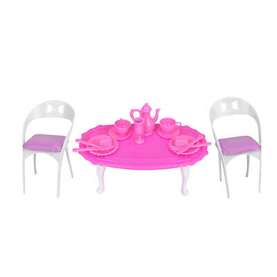 Plastic Miniature Dining Table Chair Dollhouse Accs for Dolls