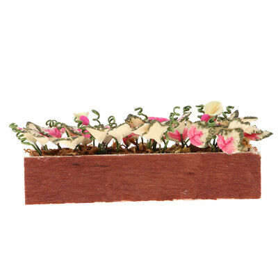 1/12 Dollhouse Miniature Clay Plant Flower with Wooden Pot Room Garden Decor