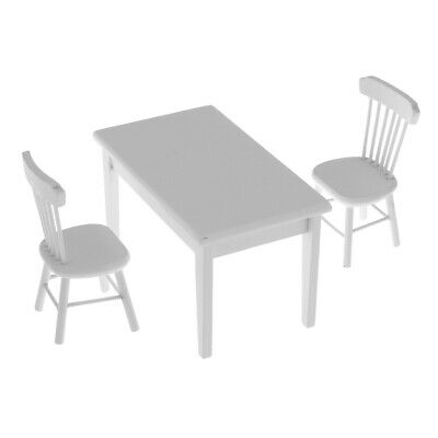 1/12 Dollhouse Miniature Furniture Wooden Dining Room Table Chair Set White