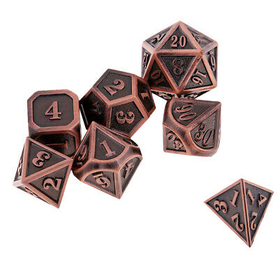 Metal 7-Die Multi-sided Dices D4-D20 for Dungeons and Dragons DnD Game Dice