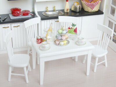 1/12 Dollhouse Miniature Dining Room Furniture White Wooden Chair Accs