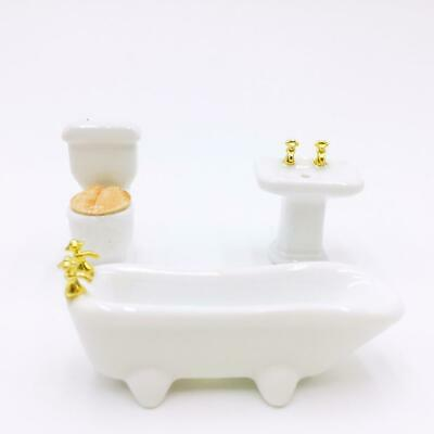 1/24 Dollhouse Miniature Bathroom Furniture Set Ceramic Bathtub Toilet White