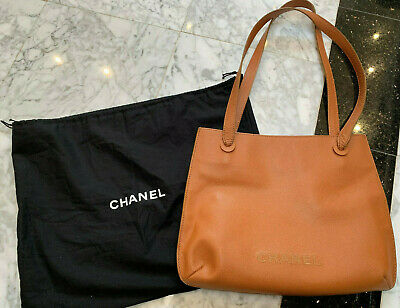 b89427ae5a2b Authentic Chanel vintage tan caviar textured leather tote bag/shoulder bag