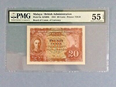 Malaya P-9a; 20 Cents; 1941; PMG Graded 55 EPQ