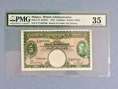 Malaya P-12; 5 Dollars; 1941; PMG Graded 35