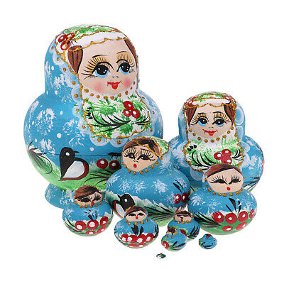 Girl Russian Nesting Doll Babushka Matryoshka Stacking Dolls Toy 10PCS Gifts