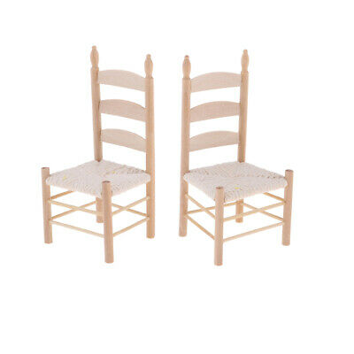 2pcs Dollhouse Miniatures Unpainted Chair for 1:12 Scale Doll Room Accessory