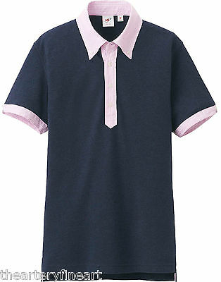 78d377d6 MICHAEL BASTIAN x UNIQLO Washed Navy Polo Shirt w/ Contrasting Collar S  **NWT