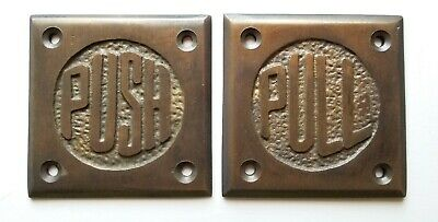 """Set of Art Deco Door PULL and PUSH signs Unique Antique solid brass 2 1/2"""" #F11"""