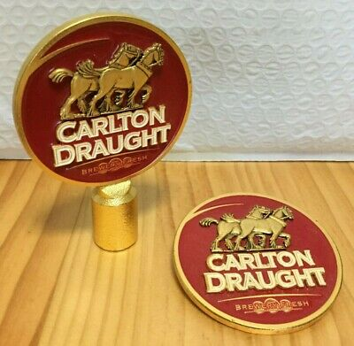 "CUB ""CARLTON DRAUGHT"" Metal Tap Tops (2)"