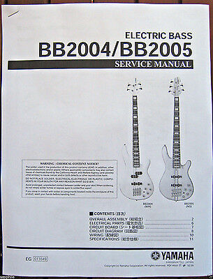 yamaha bb2004 and bb2005 bass guitar service manual and parts list booklet