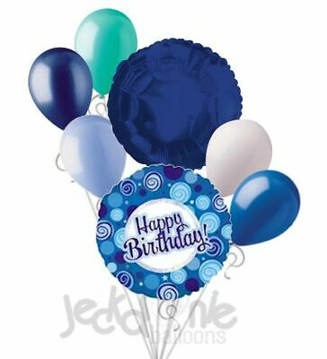 7 pc Blue Dazzeloon Happy Birthday Balloon Bouquet Party Decoration Ocean Sea