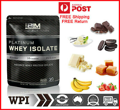 100% Pure WHEY PROTEIN Isolate Powder Low Carb Grass Fed 1KG  WPI Top 7 Flavours