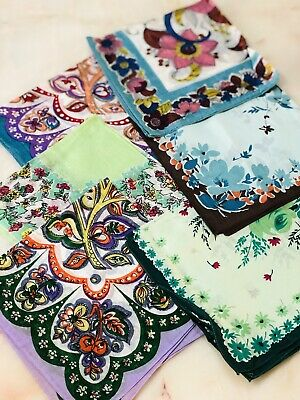 LOT OF 6 VINTAGE HANDKERCHIEFS HANKY PRETTY 1950's SILK SWISS VOILE AS NEW