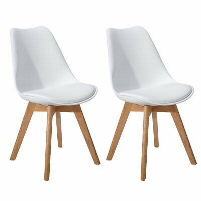 2/4/6/8 Tulip Modern Design Dining Chairs Lounge Chairs With Padded Seat (White)