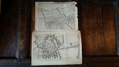 1755 Two Antique Copperplate Engravings Map Plans Dunkirk France