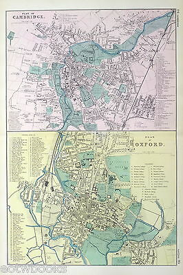 OXFORD & CAMBRIDGE - Original Antique Map / Street Plan - BACON, 1907