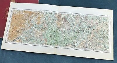 THE MIDLANDS - BIRMINGHAM, WORCESTERSHIRE, WARWICKSHIRE, 1922 - Cloth OS map.
