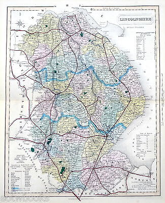 LINCOLNSHIRE - 1869 - Original Hand-coloured Antique County Map - J & C WALKER