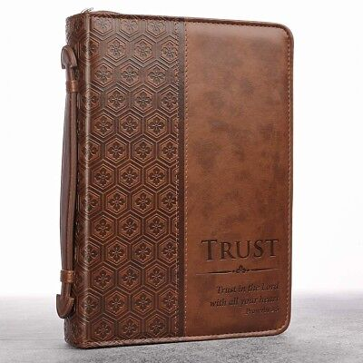 Bible Case Covers For Men Carrying Leather Boys Zipper Large Handle Pocket NEW