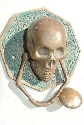 "aged SKULL handle KNOCKER PULL solid BRASS green old style DOOR amazing 5"" B"