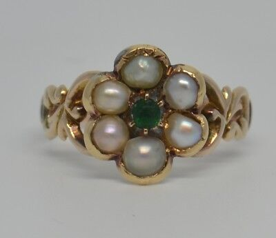 Beautiful Victorian 9ct Gold Pearl and Emerald Ring
