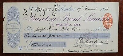 1918 Barclays Bank Limited, 1 Pall Mall East Used Cheque