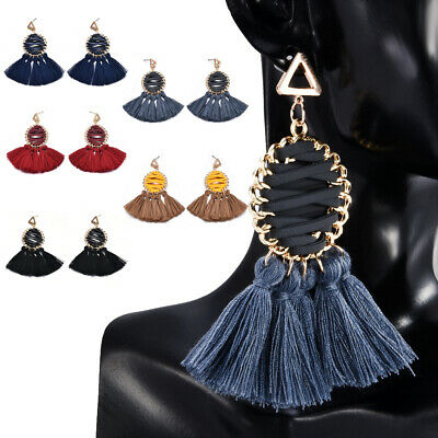Ethnic Women Bohemian Long Tassel Fringe Boho Ear Stud Dangle Earrings Jewelry
