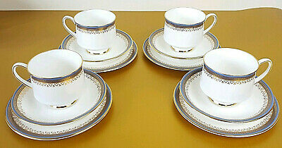 4 x Royal Albert Bone China Paragon Sandringham Tea Cup Saucer Side Plate Trios