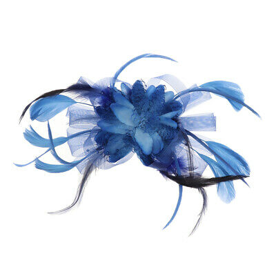 Women Fascinator Hat Flower Feather Hair Clip Headband Hat Cap Mesh Headwear