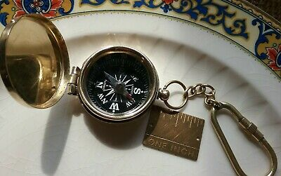 Brass Compass With Hinged Lid, Vintage Antique Pocket Style, Ships From USA