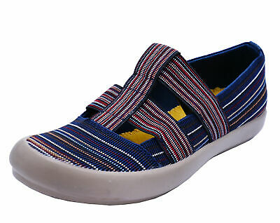 Womens Navy Stripe Cotswold Plimsoll Pumps Casual Comfort Walking Shoes Uk 3-8