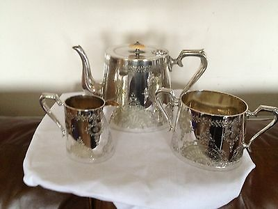 Stunning Highly Decorative Victorian 3 Piece Silver Plated Tea Set  (D & A)