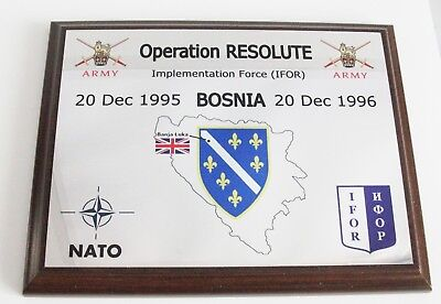 Operation Resolute Plaque - Bosnia Banja Luka  Ifor Nato British Armed Forces